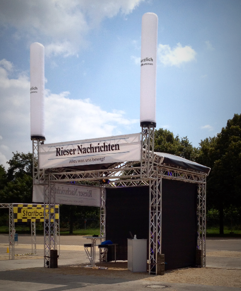 Outdoor; Messestand; Bühnendach; Traversen; Airtube; Aircone; Messebau